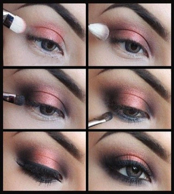 coral smokey eye makeup tutorial